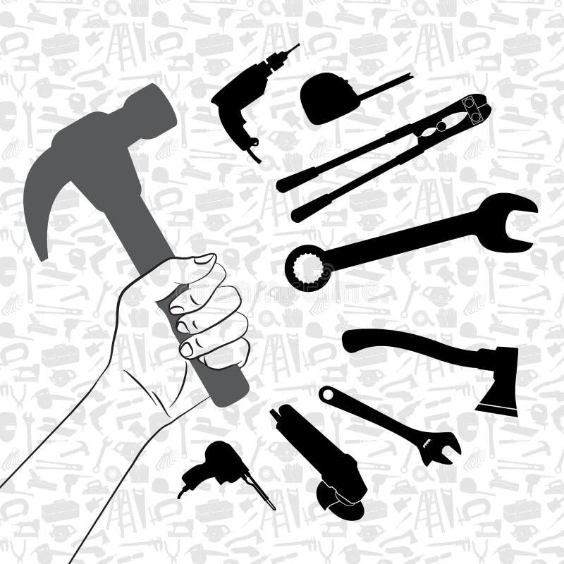 Ręki mienia młot z wzorem narzędziowy tło ilustracja wektor