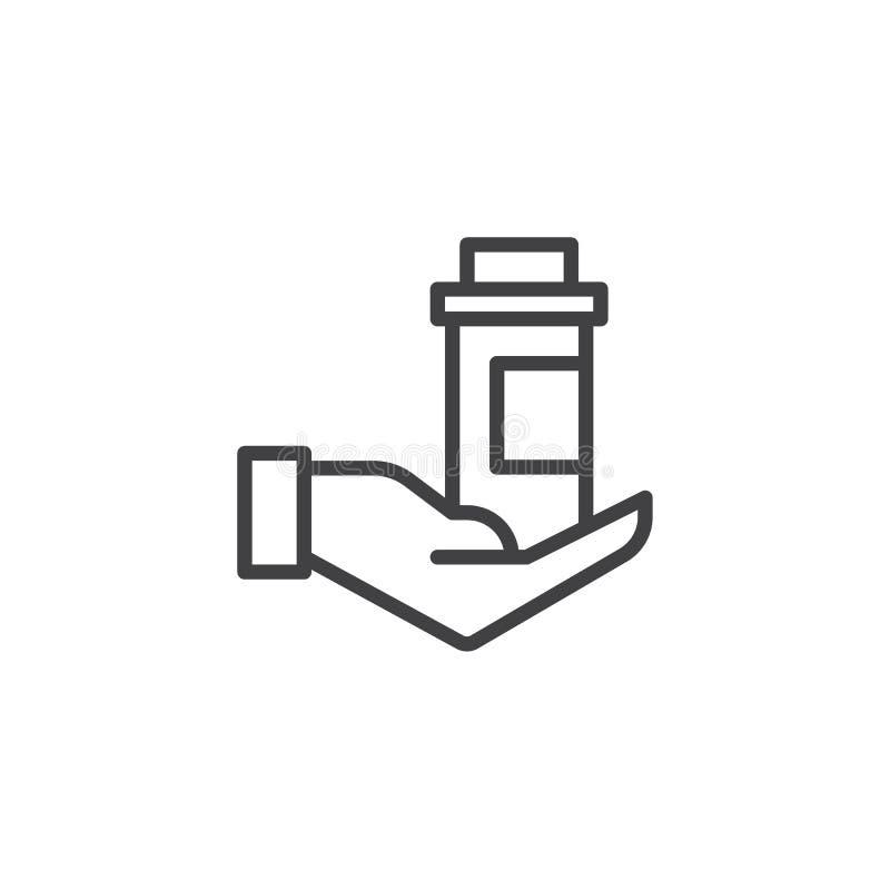Ręki mienia medycyny butelki konturu ikona ilustracja wektor