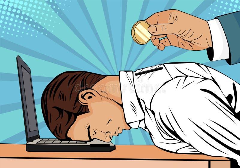 Ręki mienia menniczy wkładać w plecy biznesmen Zmęczony biznesmen na laptopie ilustracji