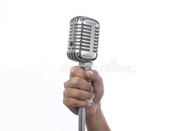 ręki mienia mikrofon obrazy stock