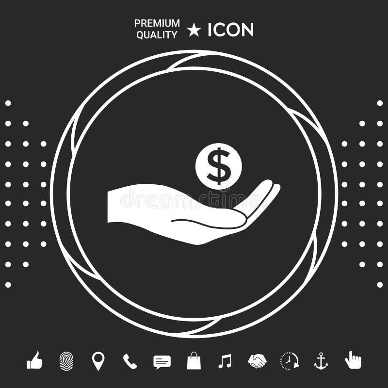 Ręki mienia pieniądze - dolarowy symbol Graficzni elementy dla twój designt ilustracja wektor