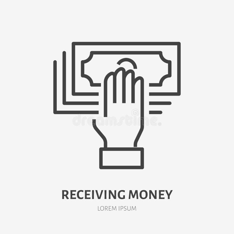 Ręki mienia pieniądze mieszkania linii ikona Gotówkowy dostawanie znak Cienki liniowy logo dla finansowych usługa, pożyczka, zapł ilustracji