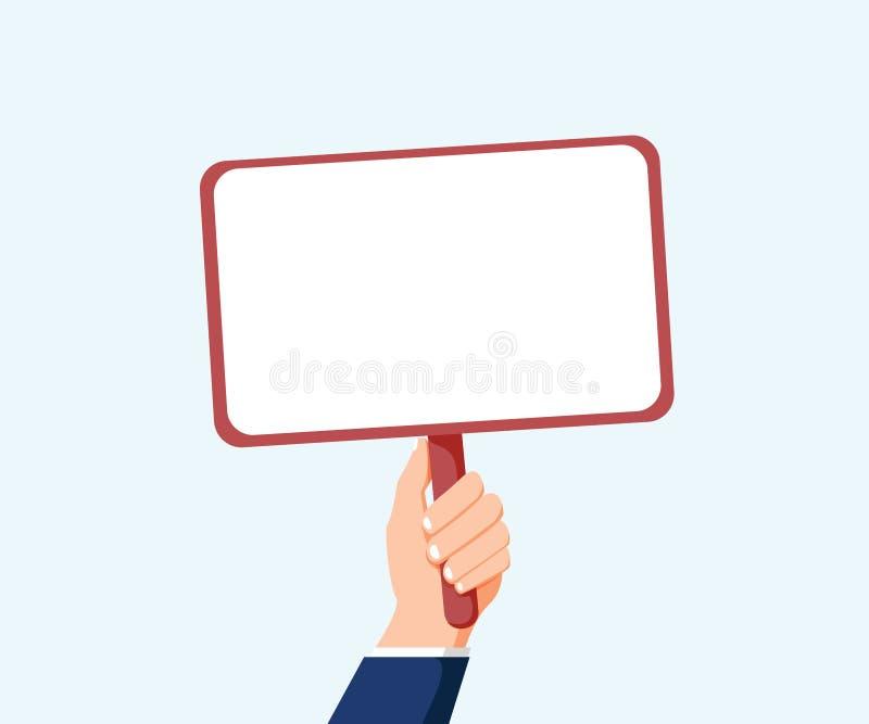 Ręki mienia plakat Wektorowy mieszkanie dla sieć sztandarów, infographic projekt Reklamowy stołu znak dla twój teksta ilustracja wektor
