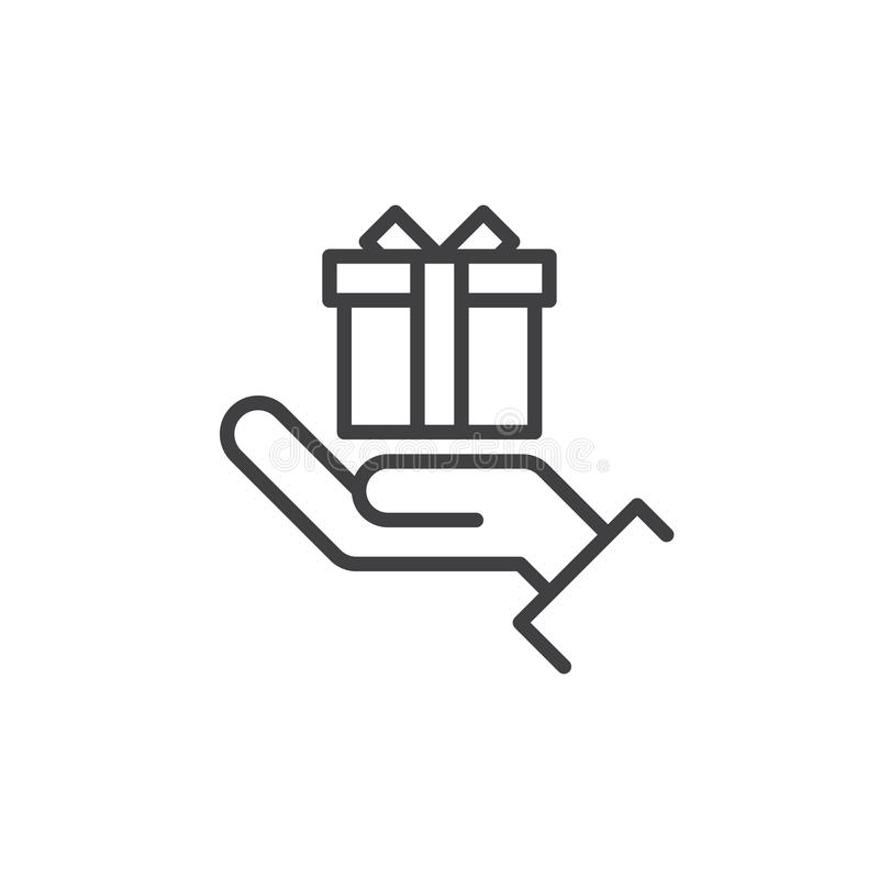 Ręki mienia prezenta pudełka linii ikona, konturu wektoru znak, liniowy stylowy piktogram odizolowywający na bielu ilustracja wektor