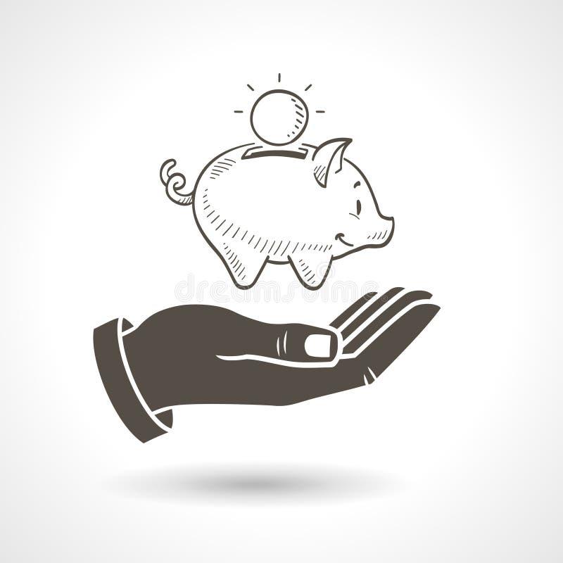 Ręki mienia prosiątka banka wektor royalty ilustracja