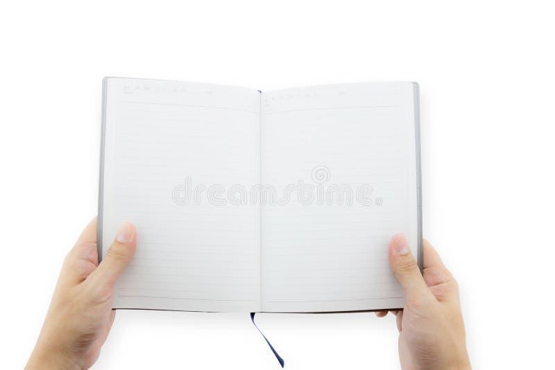 Ręki mienia pustego miejsca książka w ręce Mężczyzna przedstawienia strony zdjęcia stock