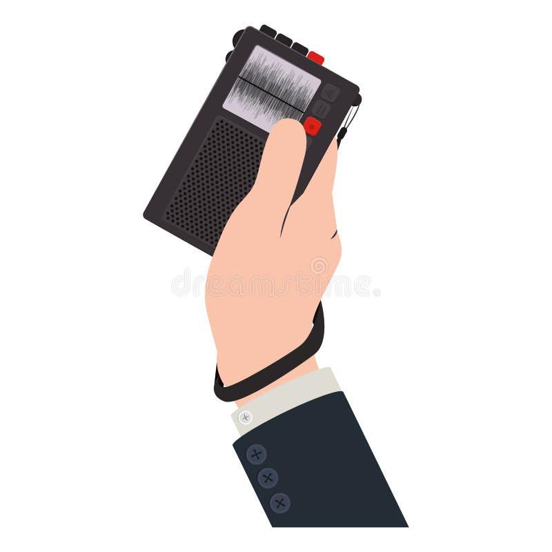 Ręki mienia radia pisak z guzikami ilustracja wektor