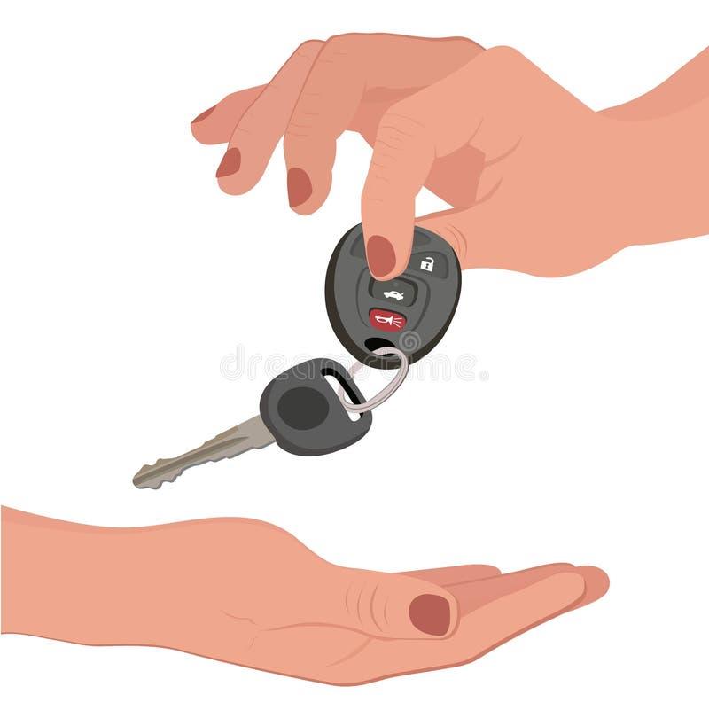 Ręki mienia samochodu klucz na bielu ilustracja wektor