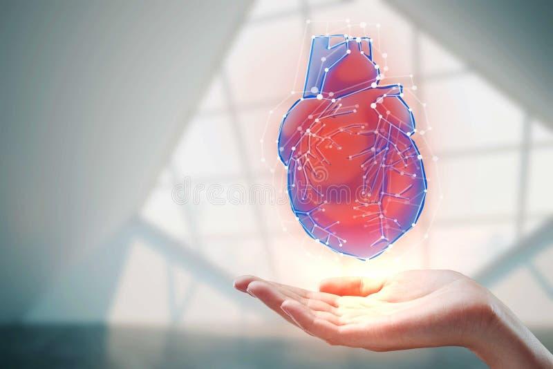 Ręki mienia serca hologram zdjęcie stock