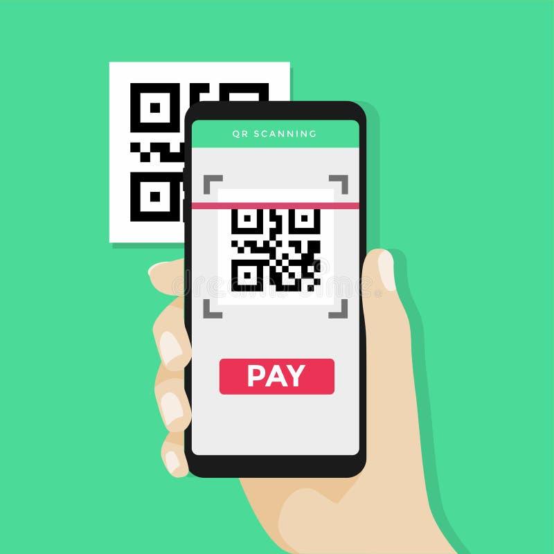 Ręki mienia smartphone skanować QR kod na papierze dla szczegółu, technologii i biznesu pojęcia, ilustracji