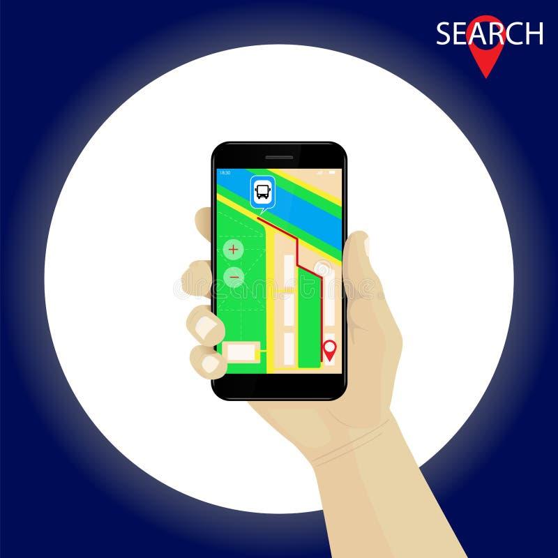 Ręki mienia smartphone z gps nawigaci trasą i mapą Rewolucjonistka m ilustracja wektor