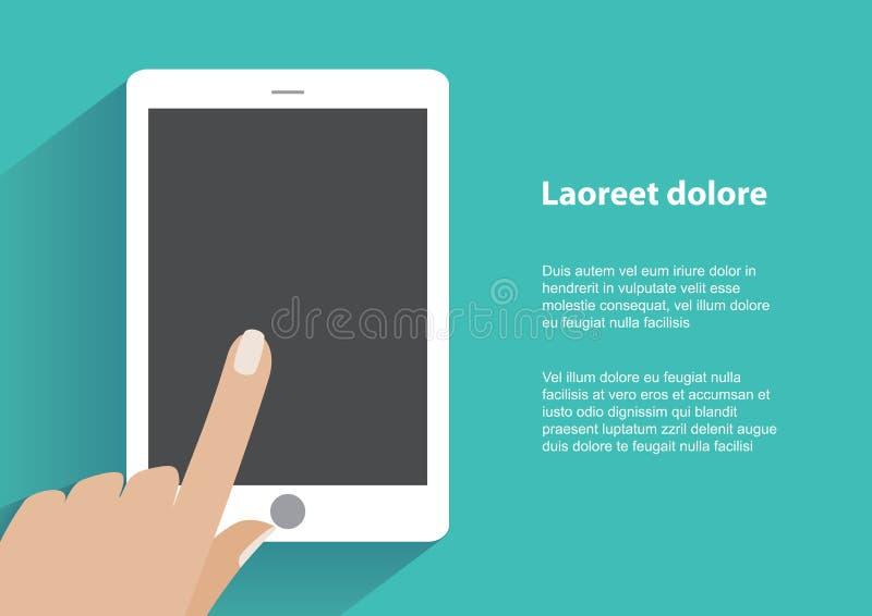 Ręki mienia smartphone z pustym ekranem ilustracji