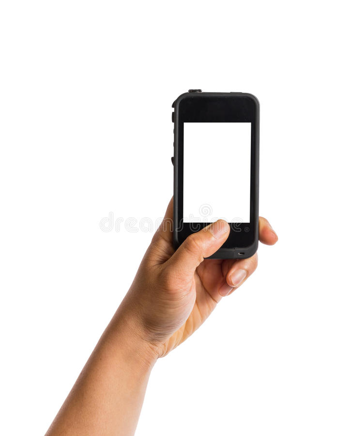 Ręki mienia smartphone z pustym ekranem obraz stock