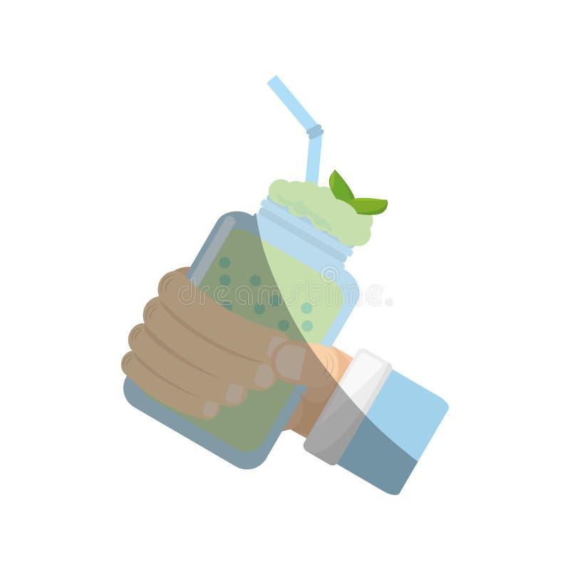 ręki mienia smoothie mennicy świeży napój ilustracja wektor