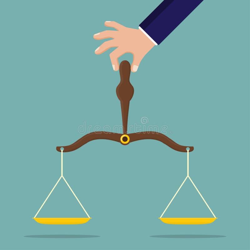 Ręki mienia sprawiedliwości skala w płaskim projekcie ilustracja wektor