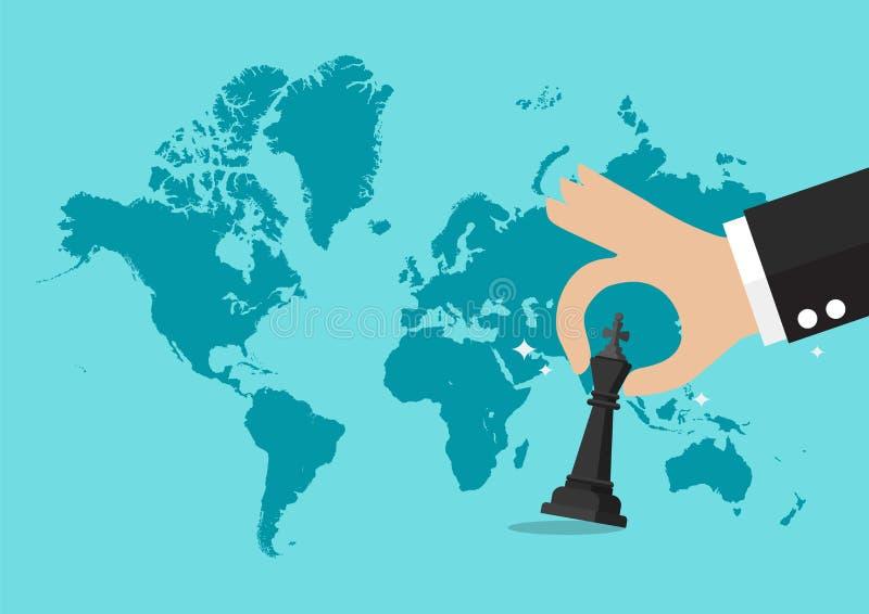Ręki mienia szachowa postać z światowej mapy tłem ilustracji