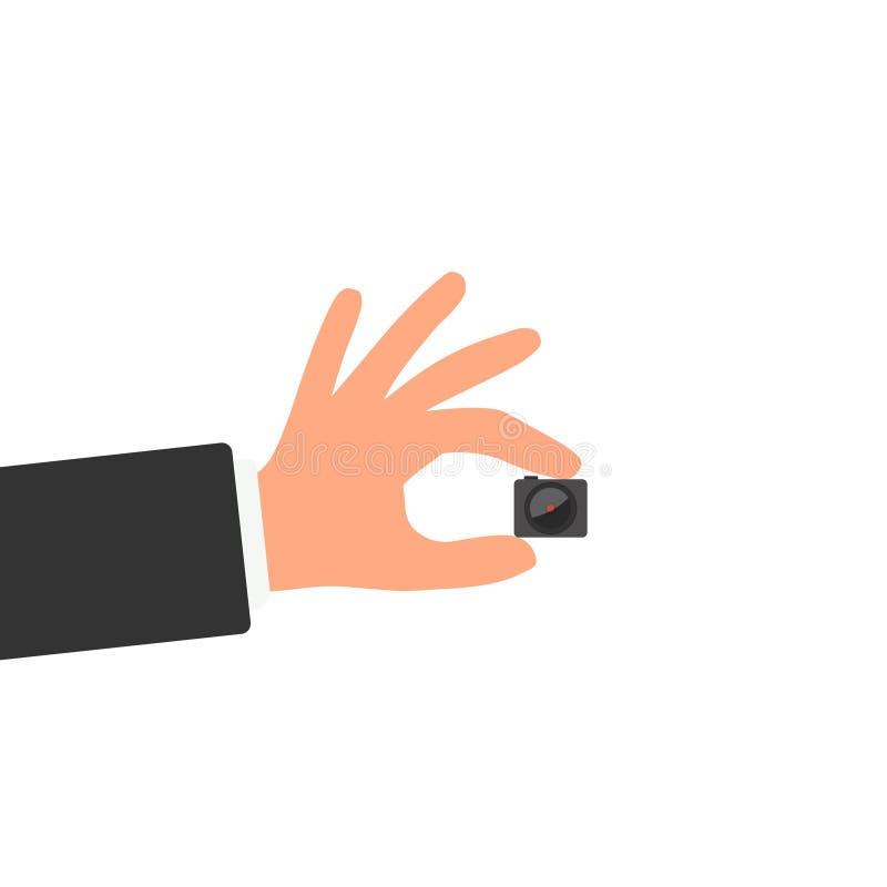 Ręki mienia szpiega kamera ilustracja wektor