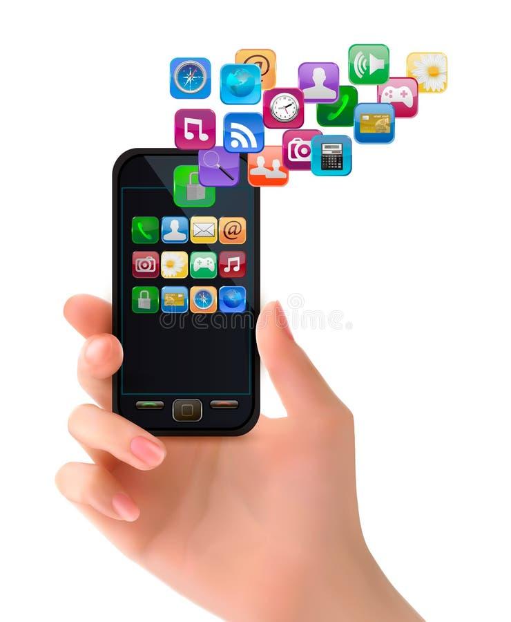 Ręki mienia telefon komórkowy z ikonami. ilustracji