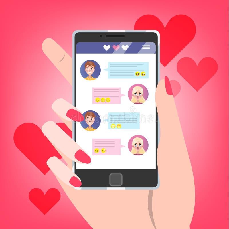 Ręki mienia telefon komórkowy z miłości gadką na ekranie royalty ilustracja
