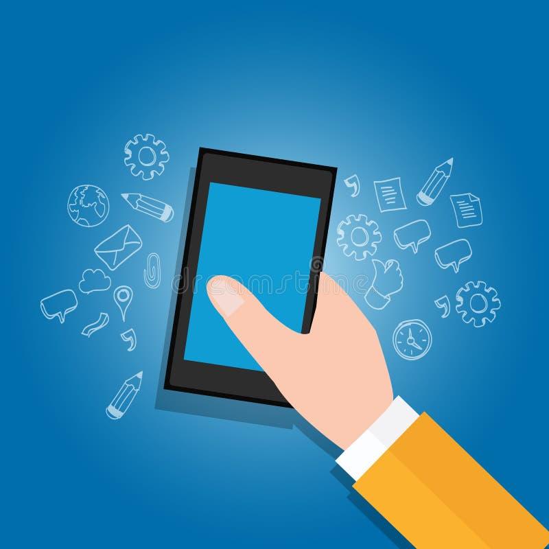 Ręki mienia urządzenia przenośne dostają dostęp otwarta wiedzy ikona ilustracji