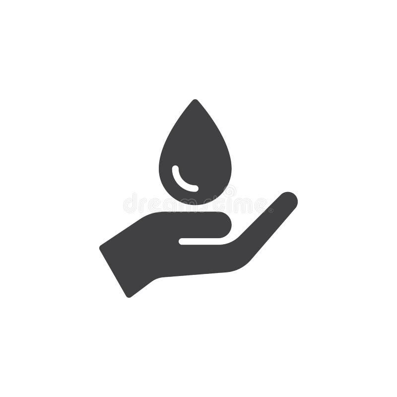 Ręki mienia wody kropli ikony wektor, wypełniający mieszkanie znak, stały piktogram odizolowywający na bielu ilustracji