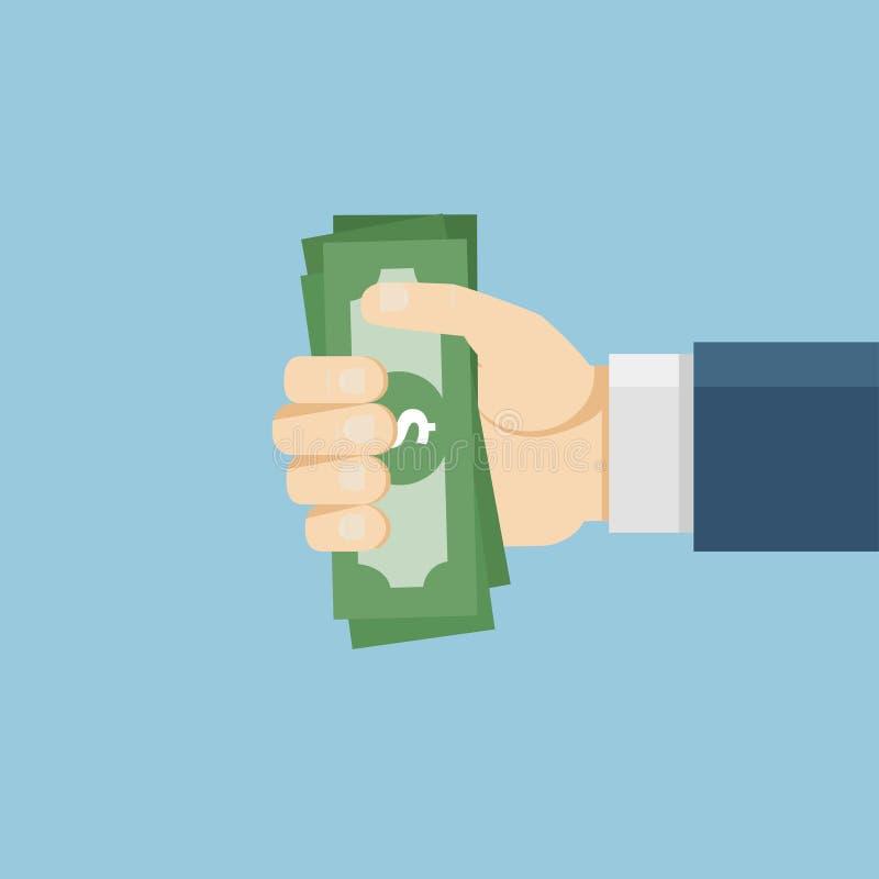 Ręki mienie lub ofiara pieniądze ilustracja wektor