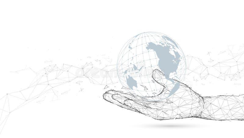 Ręki mienie z globalnym związkiem Linie i cząsteczka styl ilustracji