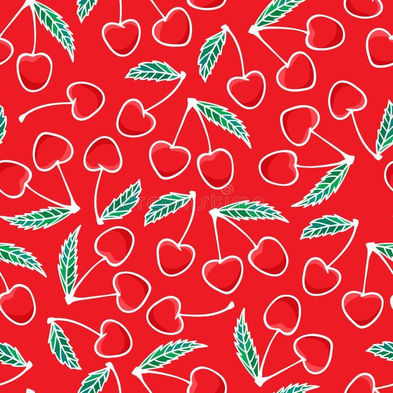 Ręki mody rysunkowego Czereśniowego jagodowego nakreślenia bezszwowy wzór odizolowywający na czerwonym tle Wektorowy ilustracyjny ilustracja wektor