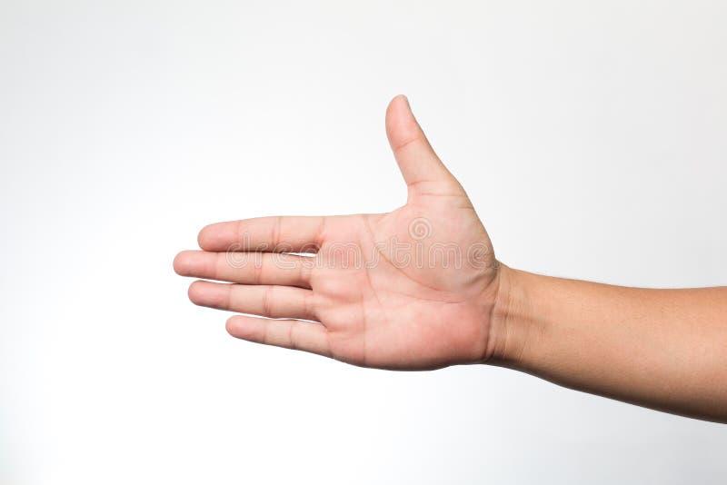 Ręki na biały ścianie zdjęcia stock
