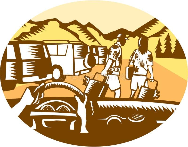 Ręki na koła Turystycznym Halnym Owalnym Woodcut ilustracja wektor
