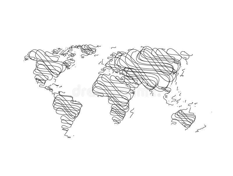 Ręki nakreślenia Światowa mapa ilustracji