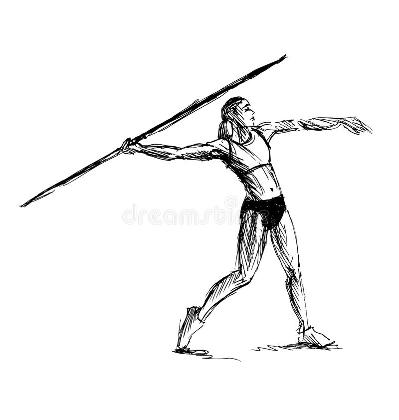 Ręki nakreślenia atleta rzuca dardę ilustracji