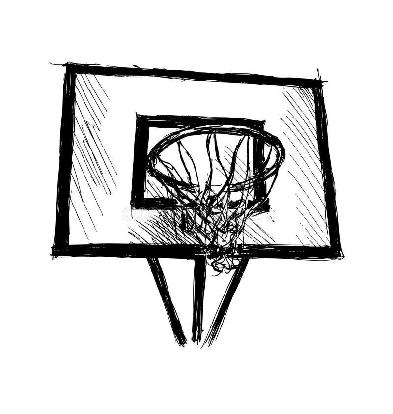 Ręki nakreślenia koszykówki obręcz royalty ilustracja