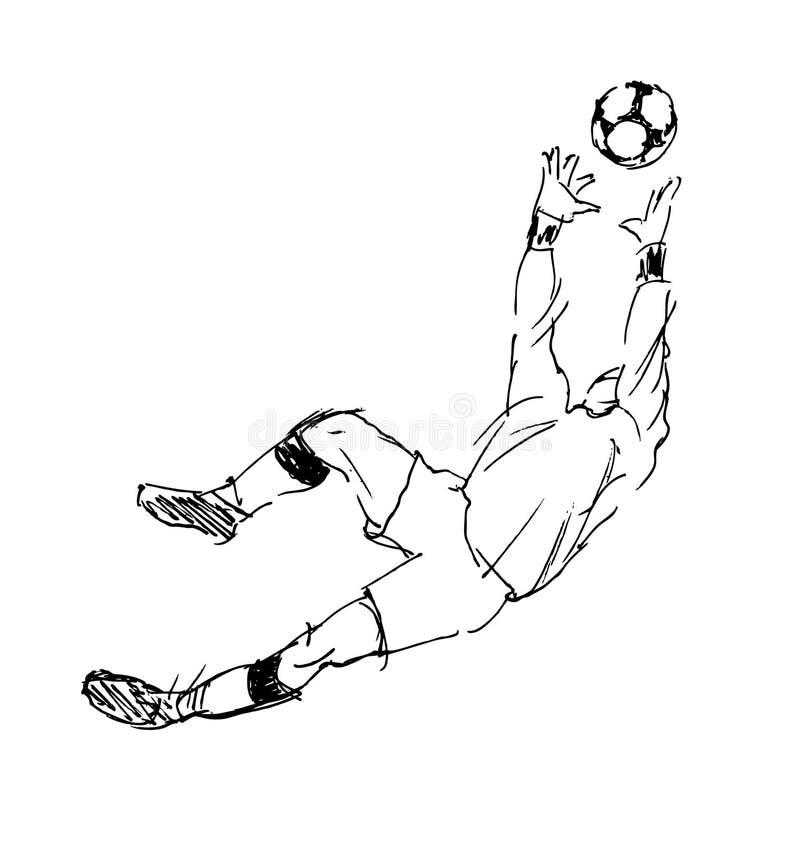 Ręki nakreślenia piłki nożnej bramkarz ilustracja wektor