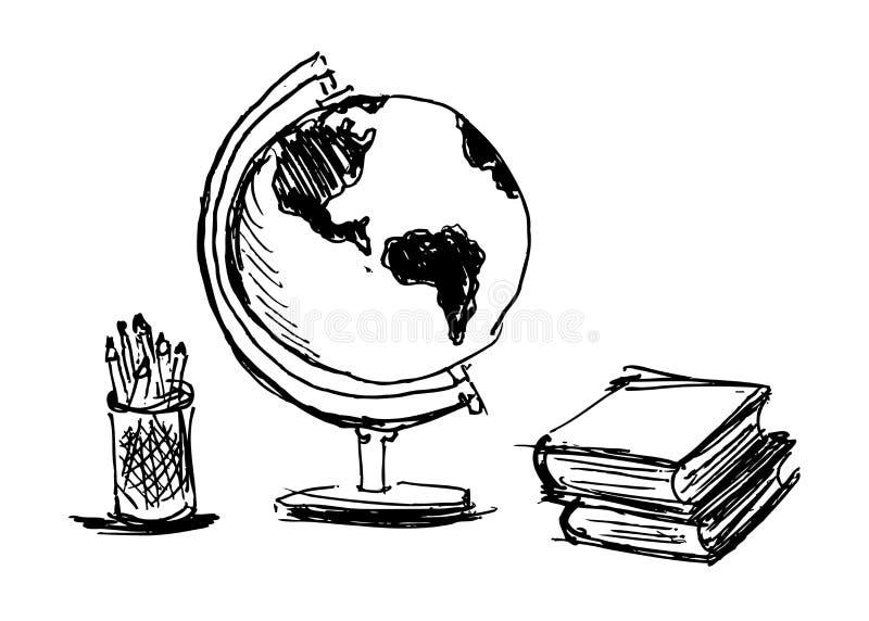 Ręki nakreślenia szkoły przedmioty royalty ilustracja