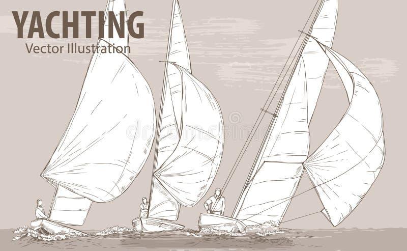 Ręki nakreślenie żeglowanie jachtów regatta Rasy w morzu Wektorowa sport ilustracja Graficzna sylwetka jachty dalej royalty ilustracja