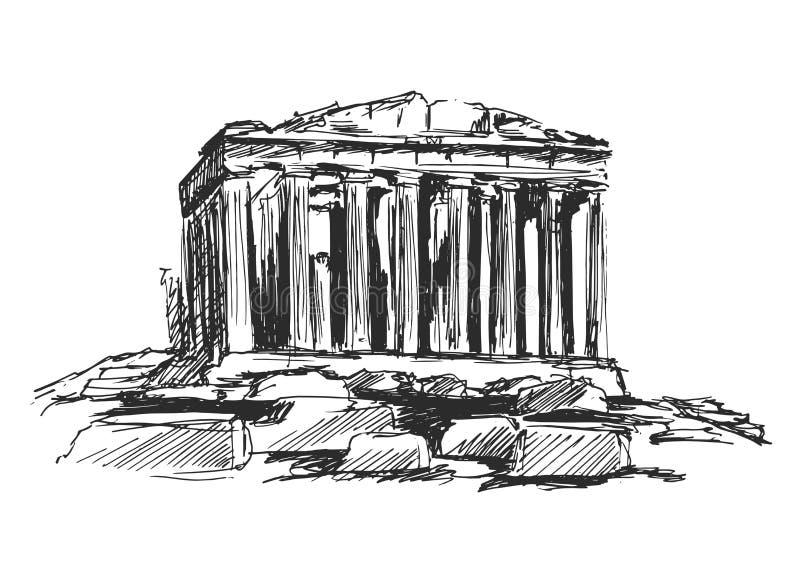 Ręki nakreślenie Ateński akropol ilustracja wektor