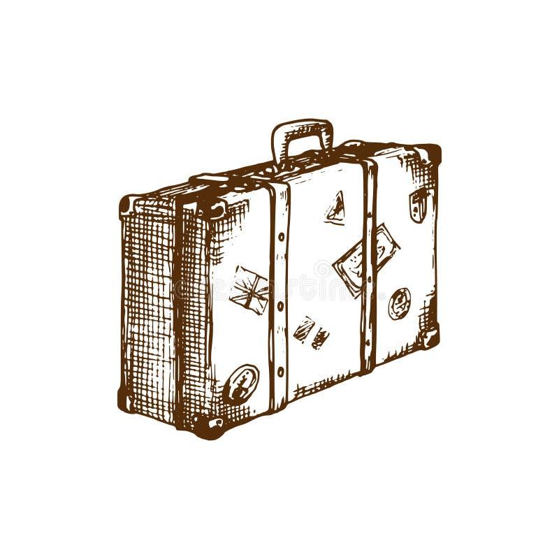 Ręki nakreślenie walizka również zwrócić corel ilustracji wektora Podróż symbol Używać dla turystycznego emblemata projekta, plak ilustracji