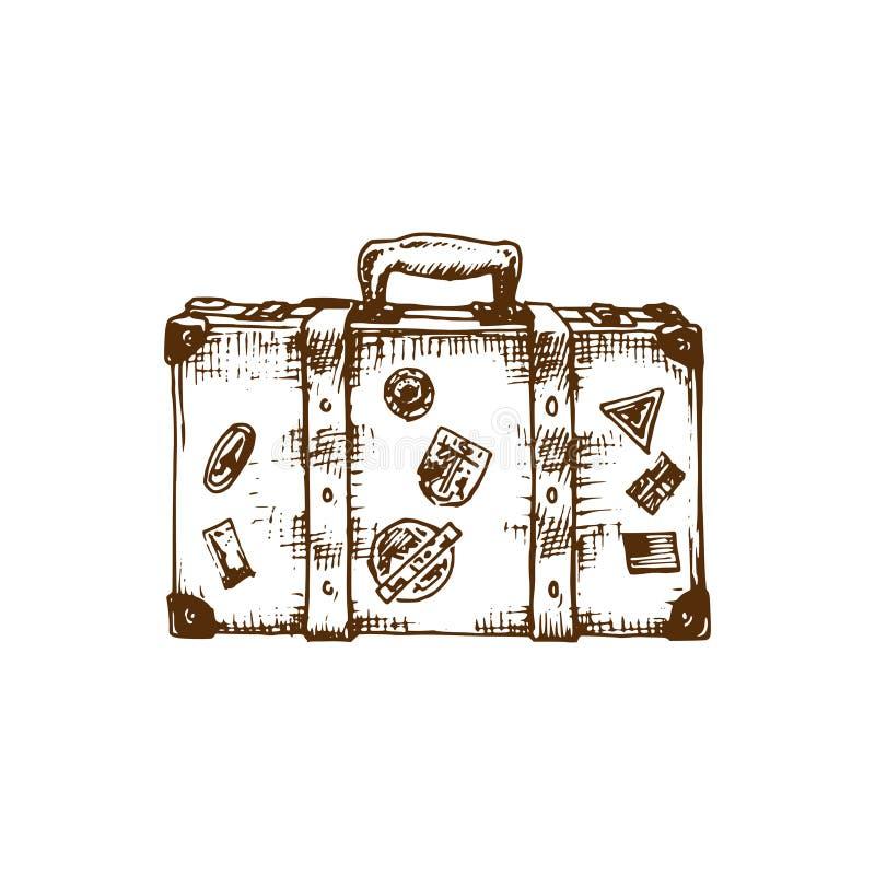 Ręki nakreślenie walizka również zwrócić corel ilustracji wektora Podróż symbol Używać dla turystycznego emblemata projekta, plak ilustracja wektor
