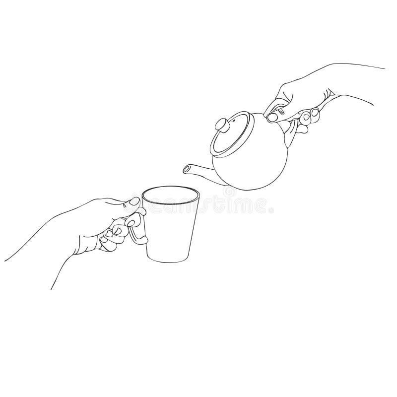 Ręki nalewają herbaty royalty ilustracja