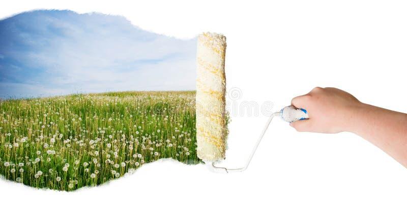 ręki natury rolownik fotografia stock