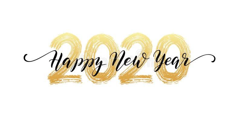 2020 ręki numerowy literowanie Szczęśliwy nowego roku pisma tekst Suchy szczotkarski tekstura skutek wesołych Świąt również zwróc ilustracja wektor
