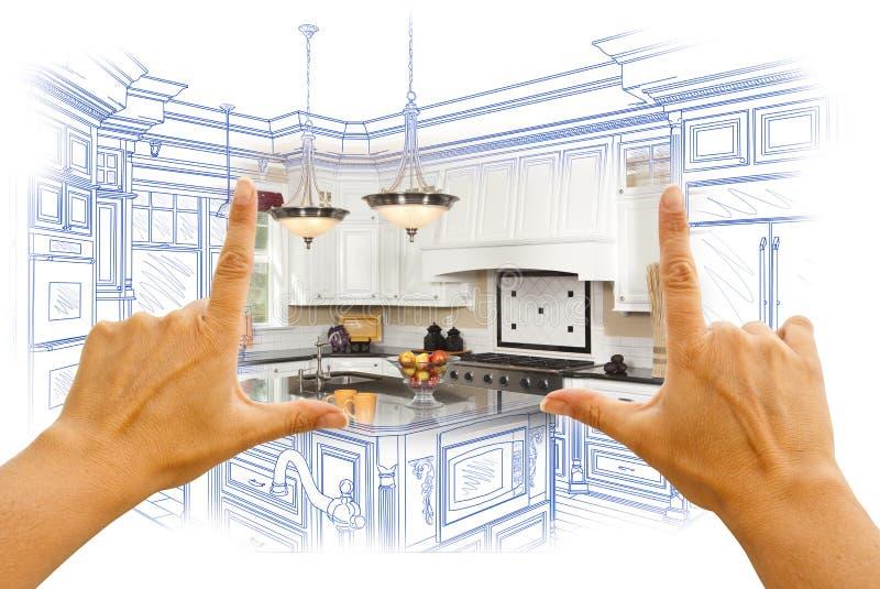 Ręki Obramia Obyczajowego Kuchennego projekta rysunek Combinatio i fotografię zdjęcia stock