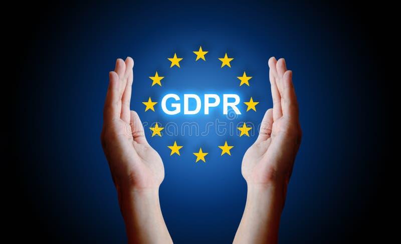 Ręki ochrony znaka ogólnych dane ochrony przepis GDPR zdjęcie stock