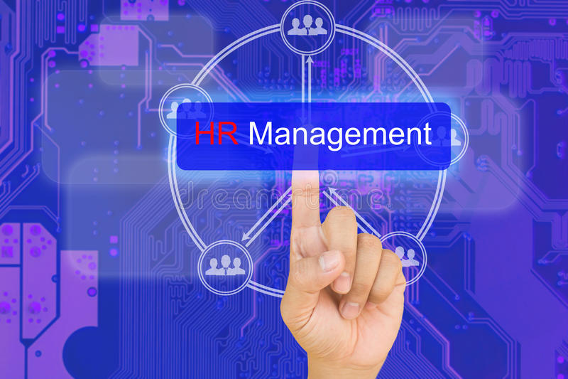 Ręki odciskania HR zarządzania guzik na interfejsie z błękitnym PCB b zdjęcie royalty free