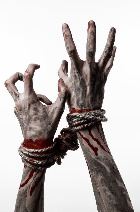 Ręki odskakują, krwiste ręki, błoto, arkana, na białym tle uprowadza, odizolowywają, żywy trup, demon zdjęcia royalty free