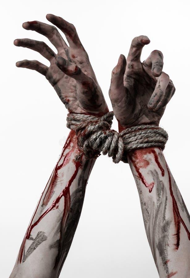 Ręki odskakują, krwiste ręki, błoto, arkana, na białym tle uprowadza, odizolowywają, żywy trup, demon fotografia stock