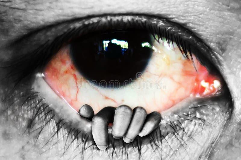 ręki otwarty oko, oszukiwa pojęcie zdjęcie stock