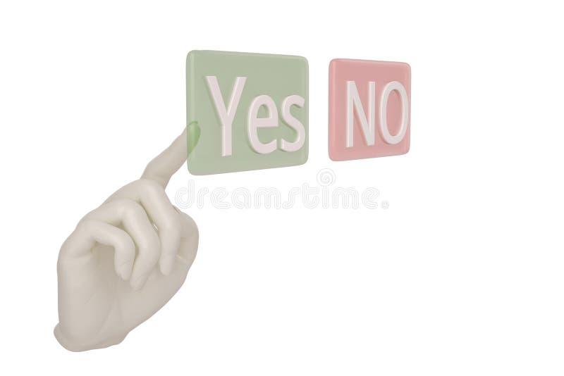 Ręki palcowy odciskanie zapina lub żadny pojęcie wybór tak, 3D ilustracja wektor