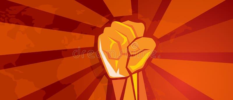 Ręki pięści rewoluci symbol opór walki agresywnego retro communism plakata propagandowy styl w czerwieni z światową mapą royalty ilustracja